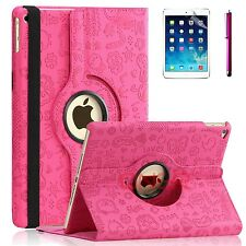 For Apple iPad Air 2 - 360 Rotating Premium PU Leather Smart Case Cute Hot Pink