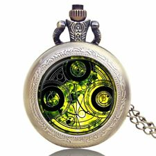 Vintage Time Lord Seal Doctor Who Necklace Pocket Watch Quartz Retro Mens Gift