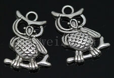 5/20/100pcs Antique Silver exquisite owl Jewelry Craft Charms Pendant 24x17mm