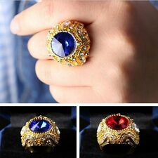 Golden Crown Plated Sapphire Jewelry Red Green Glass Gem Finger Ring Size 7-10