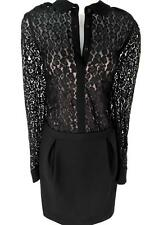 NEW Karen Millen Black Leopard Lace Shift Shirt DRESS Size UK 14, EU 40, US 10