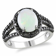 Sterling Silver 1 5/8 Ct TGW Opal and Black Diamond Fashion Ring 1/10 Ct TDW 925