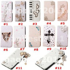 3D Bling Crystal Diamonds Pearls PU leather flip wallet pouch case cover skin #I