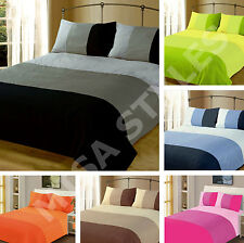 PLAIN DUVET QUILT COVER REVERSIBLE BEDDING SET PILLOWCASE ~ SINGLE DOUBLE KING