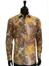 Lanzzino Mens Abstract Art Multi Colored Gold Cotton Button Up Party Dress Shirt
