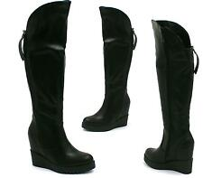 LADIES BLACK LEATHER STYLE LONG OVER KNEE BOOTS WOMENS PLATFORM WEDGE BOOTS SIZE