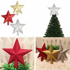Gold/Red/Silver Christmas Top of Tree Topper Glitter Stars Covered Treetop In UK