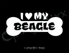 I Love My Beagle Dog Bone Decal Sticker Car Window Ford Animal K9 10 Colors #239
