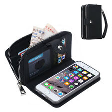 Christmas Gift PU Leather Cell Phone Wallet Cover Zipper Case for iphone Samsung