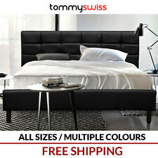 TOMMY SWISS: KING QUEEN DOUBLE SIZE Bed Frame in PU Leather w Scandi Wooden Legs