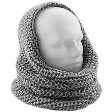 Women Chunky Knitted Eternity Snood Scarf Ribbed Knit Winter Hood 3 Colours