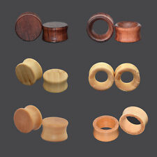 2Pair Organic Bamboo Wood Ear Tunnels Plugs Ear Stretcher Earslets Double Flared