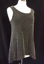 SPARKLE SILVER SHIMMER & BLACK VEST TOP FOR A PARTY NIGHT 8-10-12-14-16-20