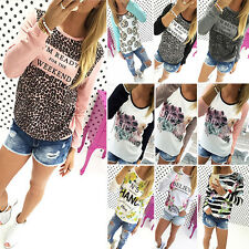 Women Floral Print Casual Sweatshirt Pullover Ladies Hoodie Jumper Tops UK 6-18