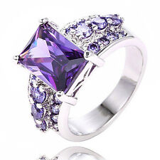 Womens Fashion Silver Plated Crystal Purple Zircon Ring Solitaire W/ Accents