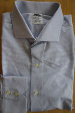 NWOT Brooks Brothers Egyptian Cotton White Blue Check Spread Collar Retail $185