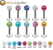 1pc New 316L Steel Epoxy Crystal Gem Ball Labret Tragus Lip Bar Stud Piercing