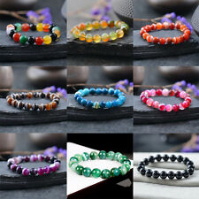 Natural Gemstone Agate Round Stone Beads Stretchable Bracelet Bangle 4mm-12mm
