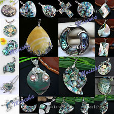 1pc Womens Cross Oval Mother Of Pearl MOP Abalone Shell Bead Charm Pendant Gift