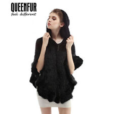 Queenfur Genuine Knitted Mink Fur Hooded Poncho Real Mink Fur Shawl Women Coat