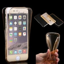 Crystal Clear Front & Back Silicone Case Cover Full Body Protective For iPhone