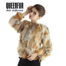 Queenfur Real Red Fox Fur Coat Fashion Real Fox Fur Jacket Winter Warm Outwear