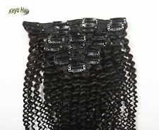 Full Head 10pcs 120g Afro Kinky Curly Clip In Human Hair Extensions Black 10-28""