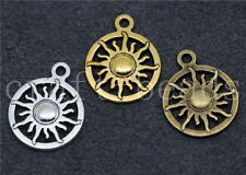 50/260pcs Antique Silver Beautiful circular sun Jewelry Charms Pendant 20x16mm