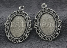 20/100pcs Tibetan Silver Cameo Cabochon Base Setting Jewelry Charms 30x22mm