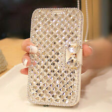 Luxury Bling Bowknot Crystal Diamond Wallet Flip Case Cover For iPhone Samsung
