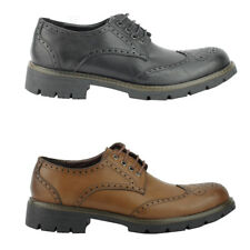 Mens Black Brown Faux Leather Classic Smart Casual Chunky Brogue Shoes UK Size