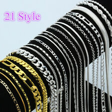 Wholesale Multi-Style 925 Silver Chain Necklace Jewelry Women Men 16-30inch CA