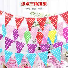 1 String 10 pcs Polka Dot Paper Flags Bunting Banner Pennant Party Decor 2.5M
