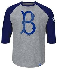 Brooklyn Dodgers Majestic Home Stretch Mens Gray Raglan Shirt Big & Tall Sizes