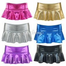 Sexy Lingerie Womens Pleated Clubwear Faux Leather PVC Wet Look Mini Skirt