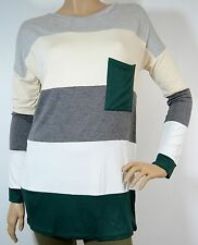 HUNTER GREEN/HEATHER GRAY MODAL SOFT COLOR BLOCK TUNIC TOP STRIPES S-M-L