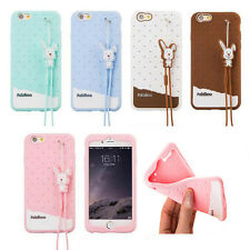 Cute Sweet Candy Rabbit Rope Soft Silicone Rubber Case Cover For Mobile Phone