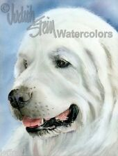 Great Pyrenees Mountain Dog Art Print of Watercolor Painting Judith Stein Signed