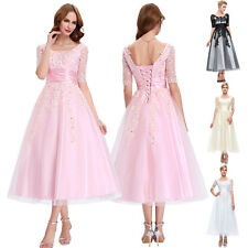 Vintage Womens Bridesmaids Ball Gown Evening Prom Formal Party Tea Length Dress