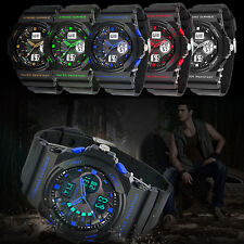 Mens Waterproof Sport Watch Analog LED Digital Alarm Date Backlight Wrist Watch