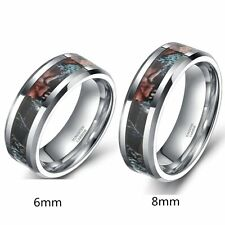 6mm 8mm Tungsten Ring Forest Camouflage Camo Real Tree Mens Women's Wedding Band