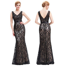 Womens Formal Sequined Long Cocktail Wedding Party Evening Gown Dress Plus Size
