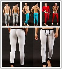 Men Sexy Long Leggings Tight Base Layer Pants Thermal Compression Under Trousers