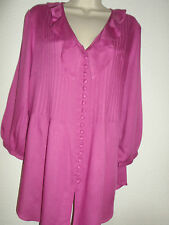 WOMANS LADIES ELEGANT SMOCK TUNIC TOP BLOUSE PLUM SIZES 12 14 16 18 20 22