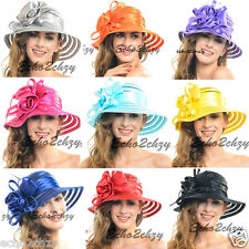 Woman Fold Organza Kentucky Derby Church Wide Brim Wedding Dress Summer Hat S015