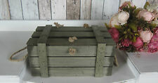 SHABBY VINTAGE RUSTIC WOODEN BOX CRATE CHEST & LID - STORAGE, WEDDINGS SMALL SZ