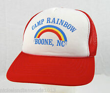 Vintage Camp Rainbow Boone, NC Red White Trucker Hat Snapback Pride NOS