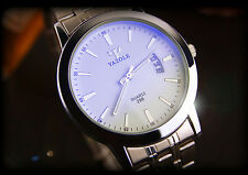 Men Fashion Shines Blue Glass Dial Stainless Steel Sport Businessmen Wrist Watch