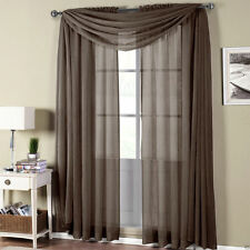 Abri Chocolate Brown Crushed Sheer  Rod Pocket Curtain Panel - All Sizes