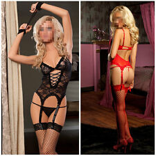 Lace Dress+ G string+ Handcuff+Garter Belt Sexy Lingerie exotic